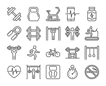 Gym icons. Fitness and Gym line icon set. Vector illustration. Editable stroke.