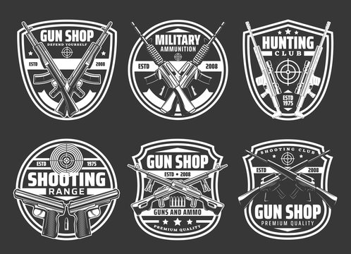Guns and ammo shop, hunting sport club and shooting range vector badges. Rifles, military weapon, bullets and targets, pistols, revolvers and hunter shotguns, firearm and ammunition monochrome icons