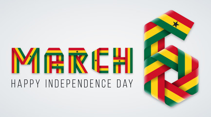 March 6, Ghana Independence Day congratulatory design with Ghana flag elements. Vector illustration.