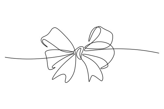 Gift ribbon bow in continuous line art drawing style. Minimalist black linear sketch isolated on white background. Vector illustration