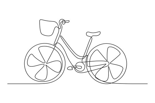 City bicycle with front basket in continuous line art drawing style. Black linear sketch isolated on white background. Vector illustration