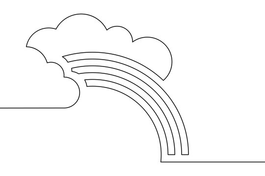 Clouds with rainbow in continuous line art drawing style. Minimalist black linear design isolated on white background. Vector illustration