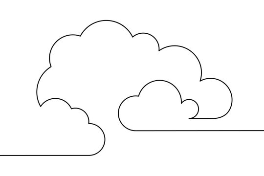 Clouds in the sky in continuous line art drawing style. Minimalist black linear design isolated on white background. Vector illustration