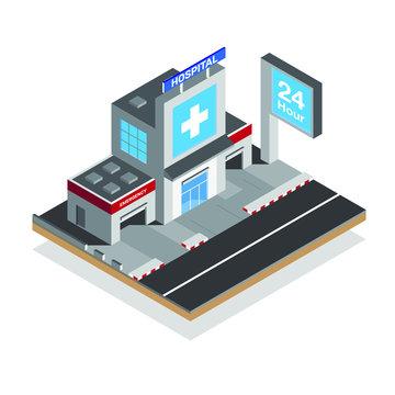 isometric hospital with big symbolic