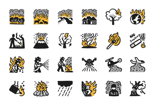 Wildfire,Forest fire Hand drawn Icon set. Pray for australia.