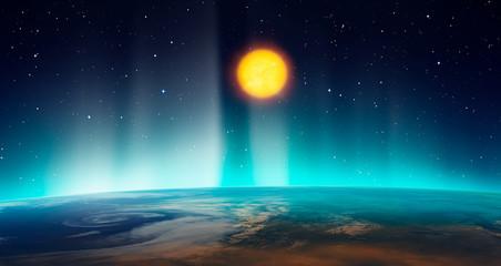 Wall Mural - Northern lights aurora borealis over planet Earth