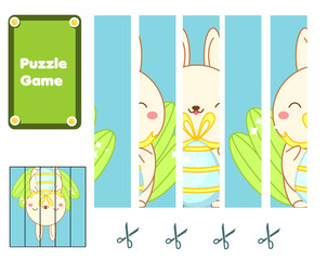 Easter bunny. Educational Puzzle for toddlers. Match pieces and complete the picture. Seasonal Game for children