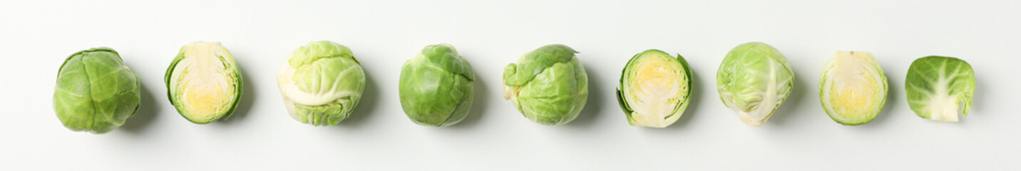 Poster Brussels Flat lay with brussels sprout on white background, top view