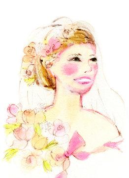 ピンクの花束を持った幸せな花嫁