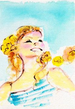夏の青空を背景に笑顔の女の子