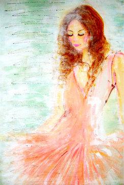 ピンクのドレスを着たダンサー