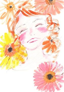 ガーベラの花と笑顔の女の子