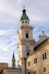 Salzburger Dome and historic district of Salzburg in the evening