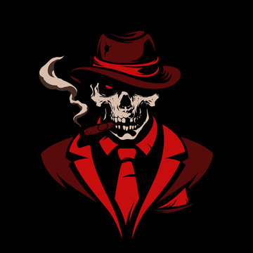 Skull in gangster hat with cigar on black background