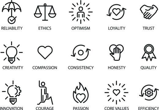 Core values set icon, vector illustration