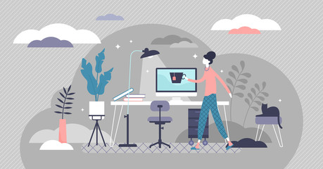 Work from home concept, flat tiny person vector illustration Wall mural