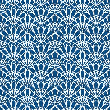 Art deco seashell abstract print. Classic blue seamless pattern vector.