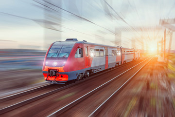 High-speed train on rail road with motion blur. Fotomurales