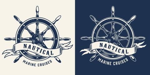 Vintage marine cruise monochrome emblem