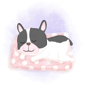 Cute dog sleeping on mattress, hand drawn cartoon watercolor illustration