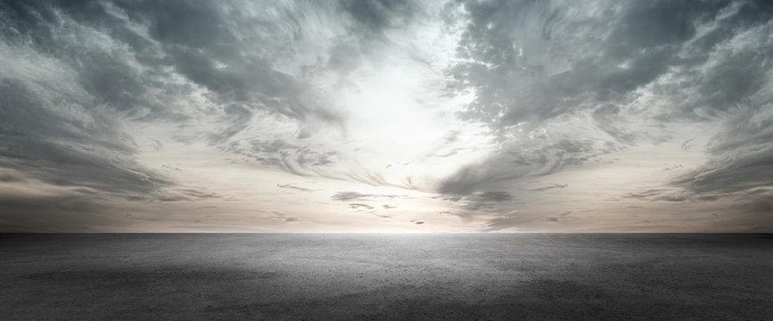 Floor Background Scene with Dark Cloud Horizon Sky
