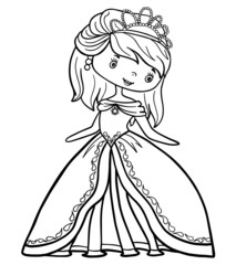 little princess girl coloring book outline stroke illustration baby cute character vector page queen crown fairy tale
