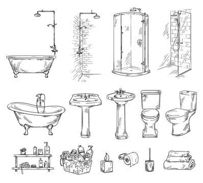 Set of bathroom objects: bathtub, shover, sink and toilet bowl. Bathroom accessories vector sketch.