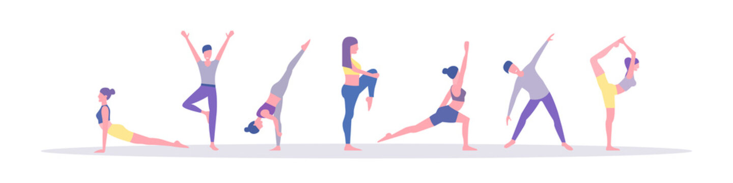 Male and Female Characters Sport Activities Set. People Doing Sports, Yoga Exercise, Fitness, Workout in Different Poses, Stretching, Healthy Lifestyle, Leisure. Flat style. Vector illustration