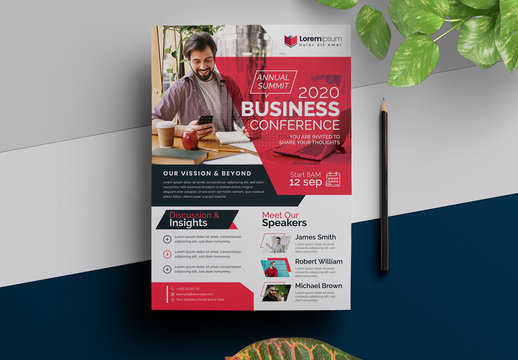 Annual Meeting Conference Flyer with Red Accents