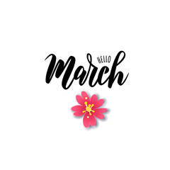 March word. Hand lettering typography With flowers. Vector illustration as poster, postcard, greeting card, invitation template. Concept March advertising