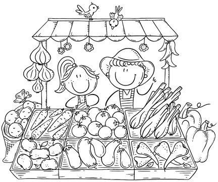 Farmers selling organic vegetables at the market, coloring page