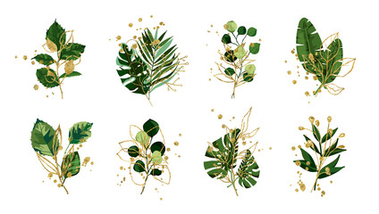 Gold green floral tropical leaves wedding bouquet with golden splatters isolated. Boho botany foliage vector illustration arrangement in watercolor style. Botanical art design for invitation card Wall mural