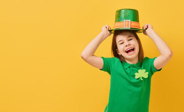 girl in leprechaun hat