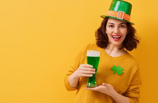 woman in leprechaun hat