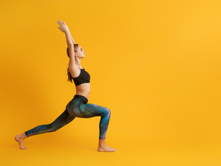 Printed roller blinds Yoga school Woman is practicing yoga