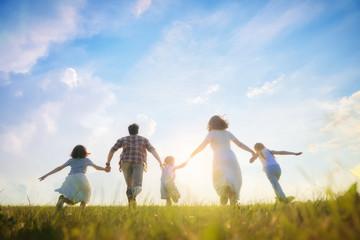 Happy family on summer walk Fotomurales
