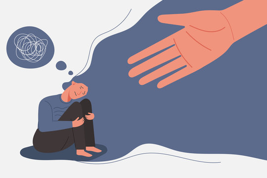 human helps sad and unhappy young woman in depression sitting on her knees, lonely girl with confused on her mind, sorrow, mental health concept, cartoon female character vector flat illustration