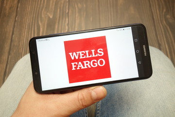 KONSKIE, POLAND - 05 MAY, 2019: Wells Fargo and Company logo displayed on smartphone