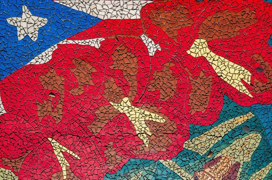Colorful mosaic design representing the flag of Cuba in Wynwood, Miami, USA