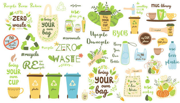 Zero waste elements set Recycle clip art Eco friendly stickers Reusable items products collection Vector