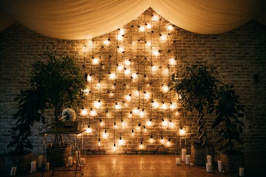 Wedding arch decoration with lights, wedding reception