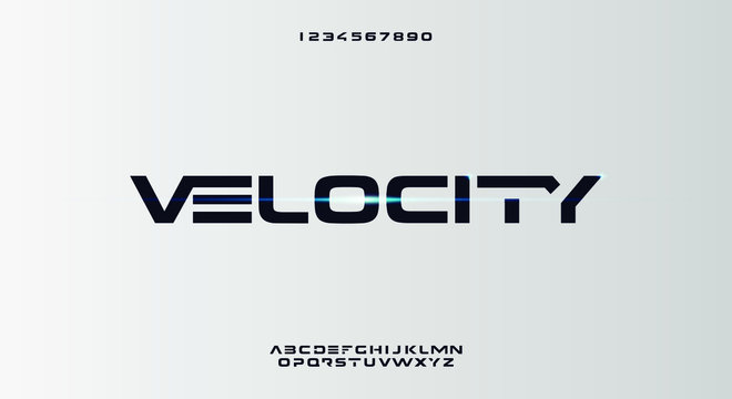 Velocity, an abstract sporty technology alphabet font. digital space typography vector illustration design