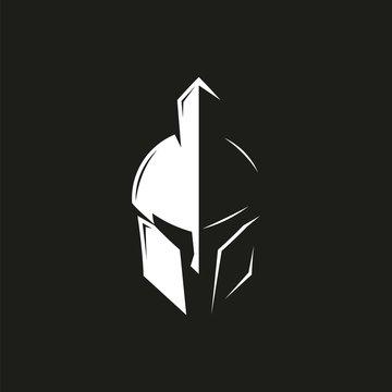 Spartan helmet logo design template, vector icon Illustration