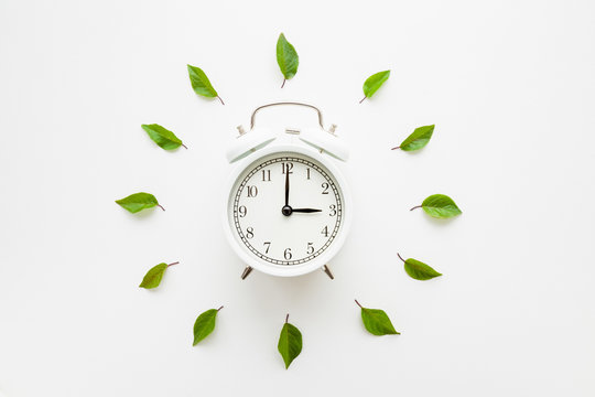 Green leaves around white alarm clock on light table background. Time change concept. Closeup. Flat lay. Top down view.