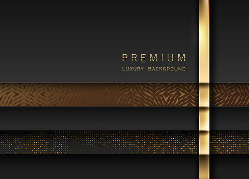 Vector luxury tech background. Stack of black paper material layer with gold stripe, sparkling sequins and golden geometric pattern. Premium design