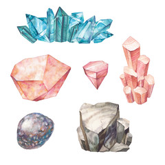 Watercolor gemstones set. Hand drawn collection of crystals and pendants. Artistic mineral illustrations isolated on white background