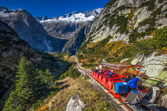 Gelmerbahn near by the Grimselpass in Swiss Alps