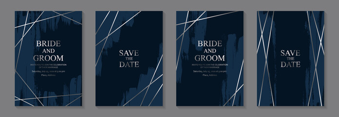 Set of modern grunge luxury wedding invitation design or card templates for business or poster or greeting with silver lines and blue paint brush strokes on a navy background. Fototapete