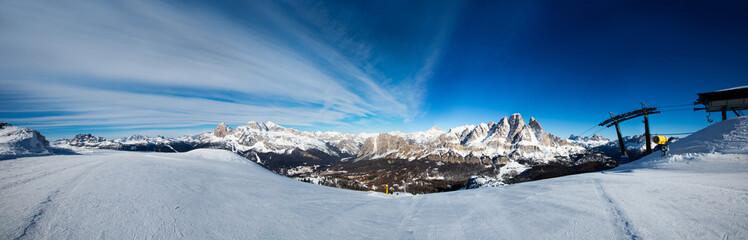 Dolomities winter mountains ski resort