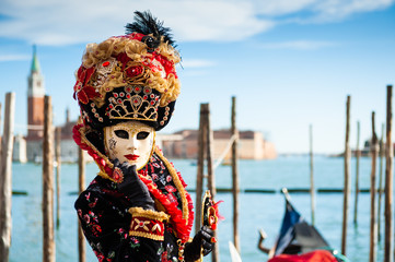 Foto op Canvas Carnaval Beautiful colorful masks at traditional Venice Carnival in February 2020 in Venice, Italy